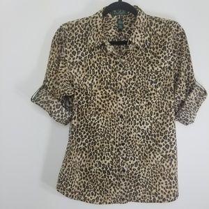 Lauren by Ralph Lauren leopard blouse PL